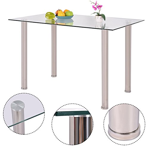 Rectangle Dining Table - New MTN-G Clear Glass Top Dining Table Rectangle Stainlesss Steel Legs Home Funiture