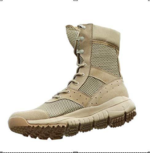 NXYR Botas Militares Zapatos Tácticos Fuerzas Especiales Bota Militares Ultraligeras Zapatos para Hombre Primavera Y Otoño Al Aire Libre Senderismo Alto para Ayudar Usar Ropa Transpirable,deepkhakico