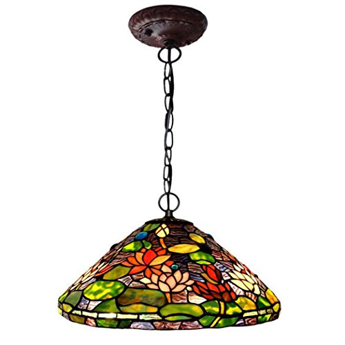 GAOLIQIN Tiffany Style Pendant Lamp,16-inch Water Lily Design Glass Art Chandelier,Living Room Bedroom Decoration Pendant - Tiffany Water Hanging Lily