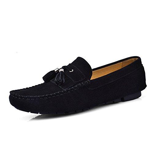 Santimon Hombres Cómodo Cuero Genuino Driving Drop OrnaHombrest Mocasines Mocasines Zapatos Negro