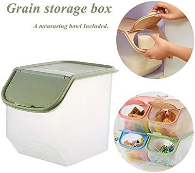 Caja de almacenamiento de alimentos de plástico sellado, antihumedad, multiusos, con cuenco medidor para arroz, cereales, aperitivos, juguetes, 7.9 L/10.5 L, verde: Amazon.es: Bricolaje y herramientas