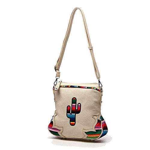 Fabric Carry Multi Ivory Colored Western Textured Bag Handbag Crossbody Serape Stitched Cactus Concealed Rz1IIU