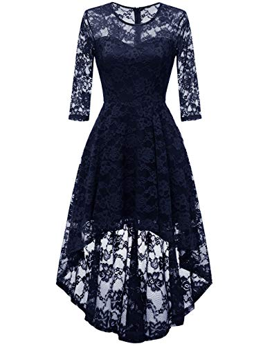(BeryLove Women's Hi-Lo Floral Lace Bridesmaid Dress Half Sleeves Cocktail Party Dress BLP7020Navy S)