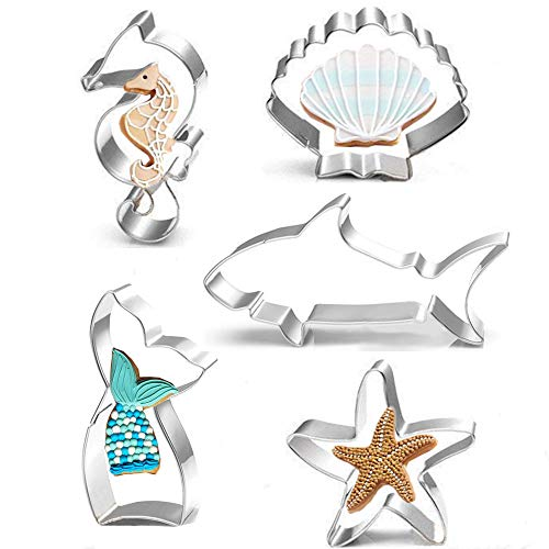(Mermaid Cookie Cutter Set - 5 Pcs - Mermaid Tail,Shark,Seahorse,Starfish and Seashell cookie cutters Molds for Kids Birthday Party and Mermaid Theme Party Supplies Decoration Handmade)