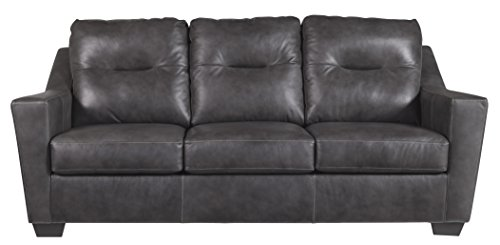 Ashley Furniture Signature Design – Kensbridge Contemporary Leather Sofa Sleeper – Queen Size Mattress Included – Charcoal