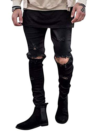 Motociclista Moda Stretch Fit Distrutti Pantaloni Casual Abbigliamento In Uomo Denim Nero Da Jeans Slim Strappati Vintage 7Pgnw
