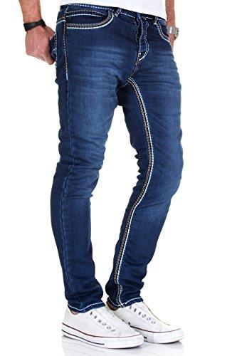 Denim oscuro Fit Straight Azul para Azul Costuras Vaqueros Modell Oscuro MERISH 1710 hombre gruesas HwXzxtqqF