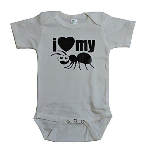 Kiddieco Unisex-Baby White Bodysuit I Love My Ant Black Print 12-18mths