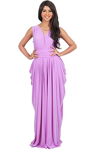 KOH KOH Womens Long Sleeveless Sexy Bridesmaid V-Neck Gown Summer Flowy Cocktail (Designer Bridesmaid Dresses)