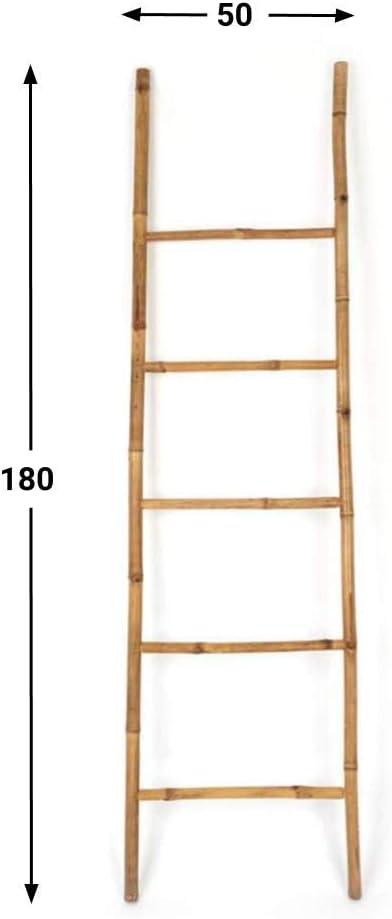 Black Velvet Studio Escalera I Love Bambu, toallero Estante para baño, 5 peldaños, Estilo étnico, Perchero Elegante, Natural, Ligero, Soporte Perchero, bambú, Color Natural, 180x50x4 cm.: Amazon.es: Hogar
