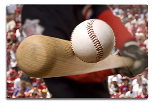 Batter Hitting Baseball Photography A-89735 (12x18 Aluminum Wall Sign, Wall Decor Ready to Hang)