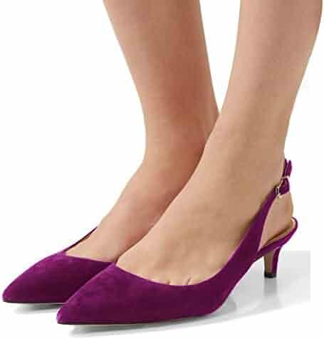 c67b9aed3c949 FSJ Women Classy Slingback Pumps Velvet Kitten Mid Heels Pointy Toe Comfort  Dress Shoes Size 4