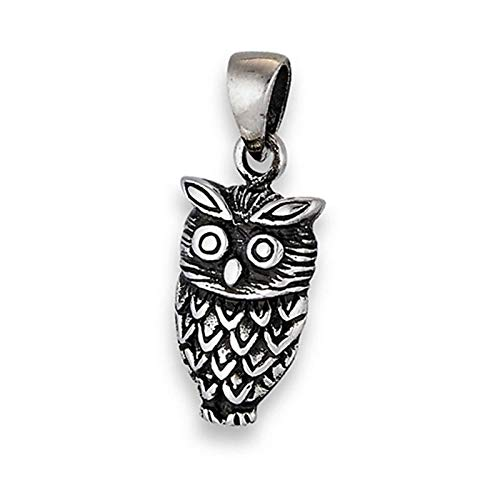 Oxidized Owl Pendant .925 Sterling Silver Woodland Feathers Animal Bird Charm Vintage Crafting Pendant Jewelry Making Supplies - DIY for Necklace Bracelet Accessories by CharmingSS