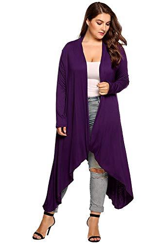 Lunghi A Irregular Manica Monocromo Violett Maglioni Di di Slim Casual Elegante Pullover Fit Donna marca Color Maglia Size Lunga Moda Cardigan Cappotto Mode 2XL Autunno Moda TdpqvwpOg