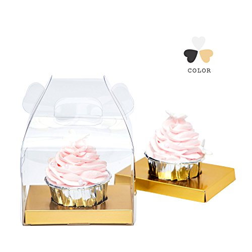 Yotruth Bakery Cupcake Box Clear Single With Handle and Gold Insert 10 - Assembled Cupcake