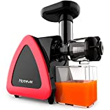 Homever Low Speed Masticating Juicer Extractor, BPA Free Cold Press Juicer, Quite Motor, with Cleaning Brush, Bigger Container, High Nutrient Juice Reducing Oxidation (Red)