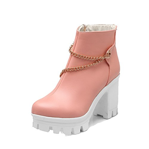 PU Heels Zipper WeenFashion High Low Pink Round Top Boots Toe Closed Women's Txxwq40A