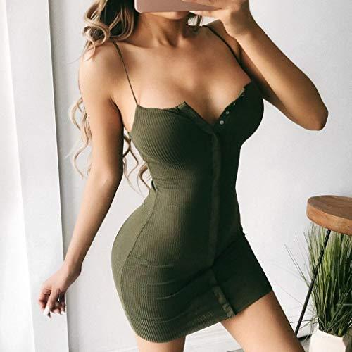 shirt Maniche Abiti Lunga Estivo Bodycon Sexy Vestito Beachwear Ragazze V Mode Mini Elegante collo Senza Abbigliamento T Verde Tank Abito Cocktail Top Sling Donna Italily Clubwear 29DIEH
