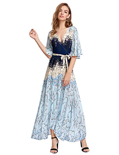 - Milumia Women's Boho Deep V Neck Floral Chiffon Wrap Split Long Dress Large Light-Blue