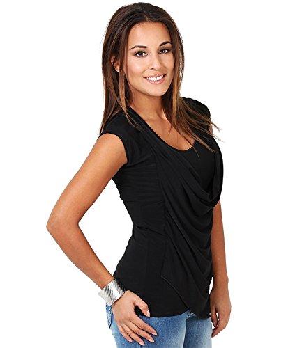 Easther Women's Asymmetrical Hem Short Sleeve Cowl Neck Draped Top