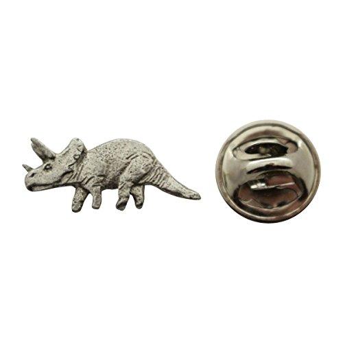 Triceratops Mini Pin ~ Antiqued Pewter ~ Miniature Lapel Pin ~ Sarah's Treats & Treasures