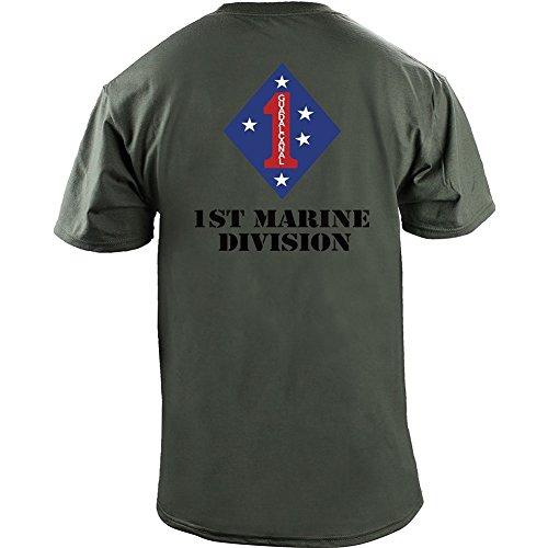 1st Marine Division Veteran Full Color T-Shirt (L, Green)