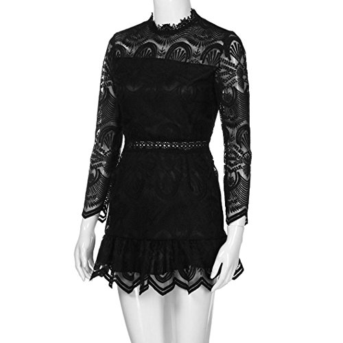 larga Negro mini vestido fiesta mujer LMMVP Vestidos mujeres las S de de manga casual Encaje cóctel Blanco Pqwa8Tp