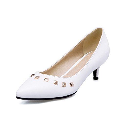 Tacco Tirare Flats Scarpe Ballet Bianco Puro A VogueZone009 Donna Medio Luccichio Punta RfExwgq