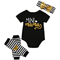 Vicbovo Baby Girl Outfit, Adorable 'Mini mom' Summer Short Sleeve Romper Bodysuit+Leg Warmer+Headband Infant Clothes Set