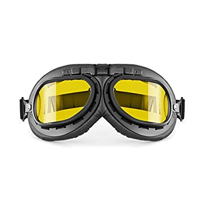 Bertoni Vintage Aviator Motorcycle Goggles - Mat Black - Anticrash Lenses AF195 Italy - Yellow Lens: Automotive