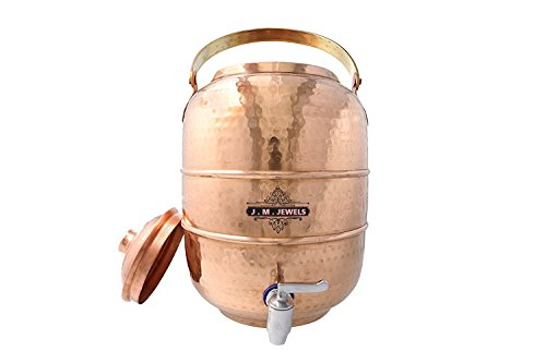 J M JEWEL 100% Pure copper Handcrafted Hammered Water pot tank, Water Dispenser, Multipurpose Storage Container With Handle 6.5 Liters for Ayurveda Health Benefit by J M JEWELS (Image #1)