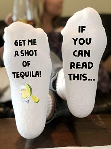 If You Can Read This Get Me a shot of Tequila Novelty Funky Crew Socks Men Women Christmas Gifts Slipper Socks