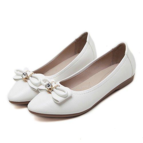 LIVY Pisos 2017 nuevo arco perspectiva de diamantes individuales hebillas de zapatos pisos Blanco