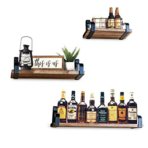 (Decorative Vintage Shelves SET of 3 with Popular Rustic Accent. Floating Wall Mounted, Easy Install Hardware Included, Real Wood, Perfect Storage. For Bedroom, Bathroom to Reduce Clutter & Organize)