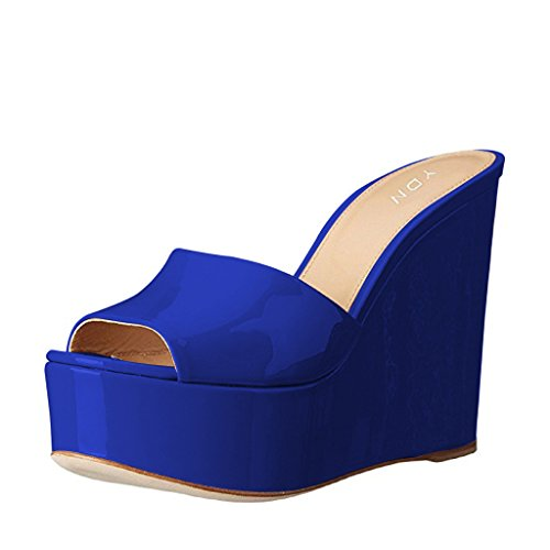 YDN Women High Heels Platform Mules Peep Toe Clogs Slip on Wedge Sandals Slide Shoes Blue 9.5 ()