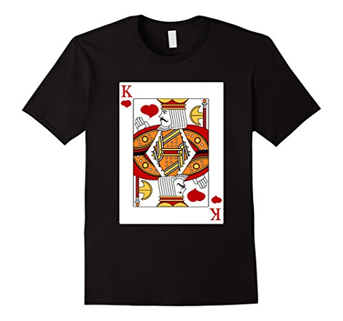 King Of Hearts Costumes For Adults (Mens Deck Of Cards Halloween King of Hearts Couples Costume Shirt Large Black)
