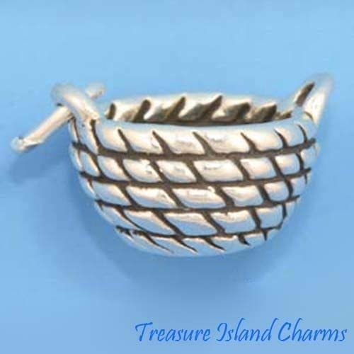 Wicker Basket Laundry Hamper 3D .925 Solid Sterling Silver Charm Ideal Gifts, Pendant, Charms, DIY Crafting, Gift Set from Heart by Wholesale - Basket Charm Silver Sterling
