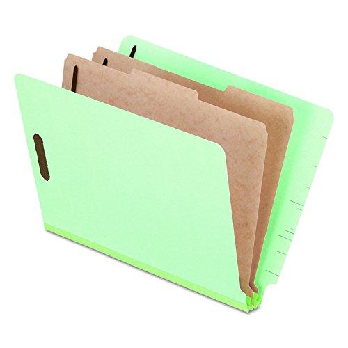 Pendaflex Pressboard End-Tab Classification Folders, Letter Size, 2 Dividers, 2.5' Expansion, Light Green, Straight Cut Tabs, 10/BX (23224)