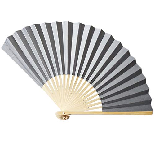 Holzkary Chinese Style Vintage Folding Hand Held Fan/Paper Fan/Feather Fan/Sandalwood Fan/Bamboo Fans for Wedding, Party, Dancing(23cm.S)