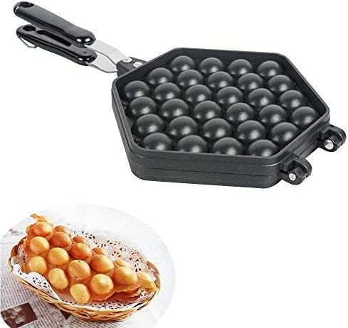 ixaer Egg Bubble Waffle Maker Pan, Egg Baking Mold, Egg Cake Machine, Commercial Gas Egg Mold