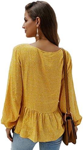 Romwe Womens Floral Print Lantern Long Sleeve Button Front V Neck Peplum Blouse Top Shirt