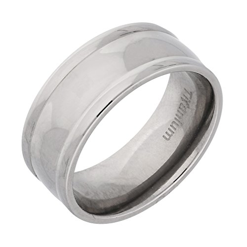 Silver Insanity 7mm Wide Mens Solid Titanium Classic Wedding Band Ring Size 11(Sizes (Classic Solid Wide Band)