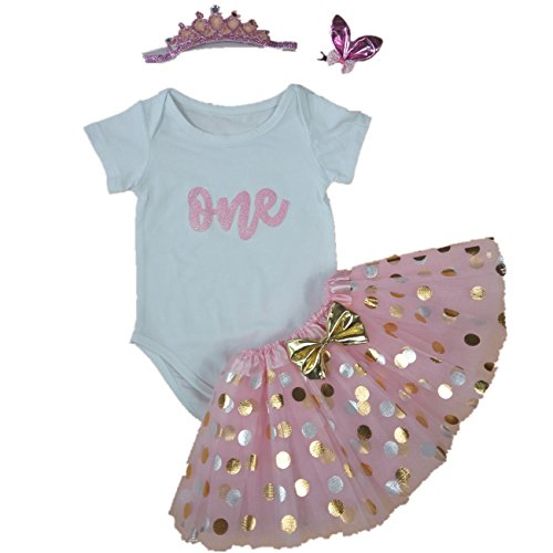 rl 1st Birthday Pink Tutu Onesie Outfit Infant Party Dress L ()