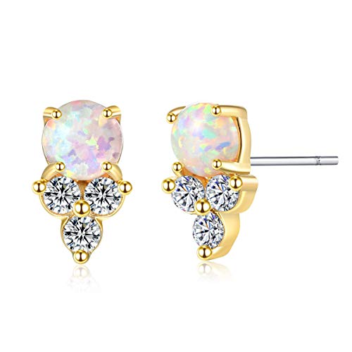 (LOYATA Opal CZ Stud Earrings, 14K Gold Plated Sterling Silver Post Cubic Zirconia Stud Earring Small Tiny Birthstone Crystal Piercing Earrings Unique Dainty Ear Stud Earring for Women (Opal Stud))