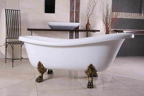 Freistehende Luxus Badewanne Jugendstil Roma Weiß/Altgold 1560mm   Barock  Badezimmer   Retro Antik Badewanne