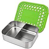 LunchBots Trio 2 - Fiambrera de acero inoxidable (3 secciones, capacidad para 1/2 sándwich y laterales), Puntos verdes