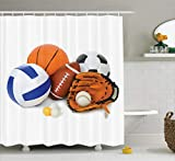 Ambesonne Sports Decor Shower Curtain Set, Many Different Sports Balls All Together Championship Ping Pong Volleyball Olympics Concept, Bathroom Accessories, 69W X 70L Inches, Multi