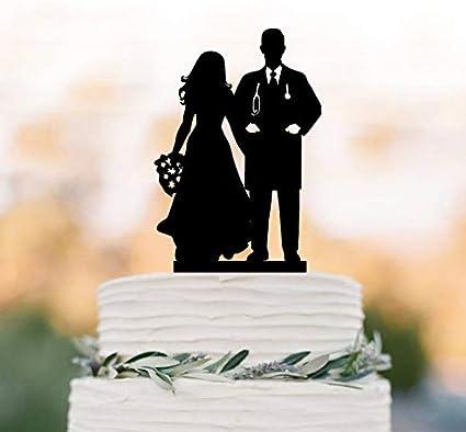 Doctor Or Nurse Groom Doctor Wedding Cake Topper Nurse Dragging Groom Mr And Mrs Wedding Cake Topper  2314