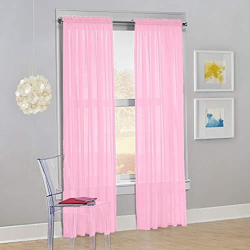 "Decotex Set of 2 Sheer Voile Transparent Window Panel Curtain Drapes (54"" W X 63"" L, Light Pink)"
