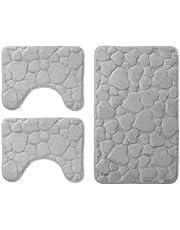 DEMONA Set 3 Pezzi Completo TAPPETI Bagno Sassi Memory Foam Antiscivolo Morbidi 3D Vari Colori TAPPETINI SPEDIZIONE Gratuita Offerta (TMC/1GRIGIO Chiaro)